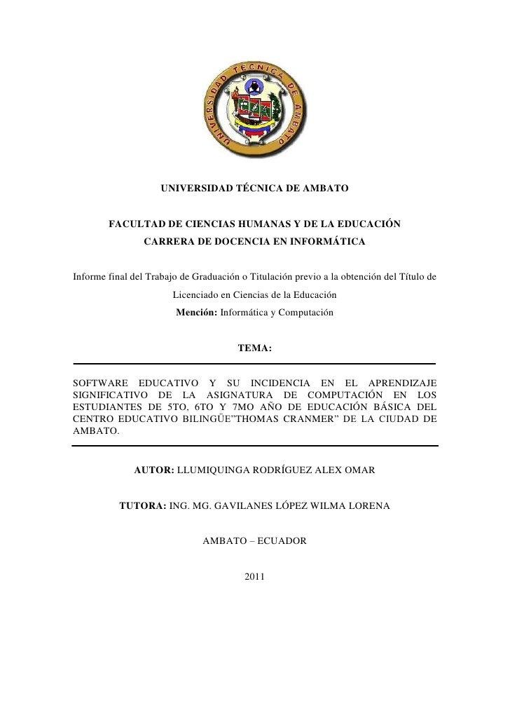 UNIVERSIDAD TÉCNICA DE AMBATO        FACULTAD DE CIENCIAS HUMANAS Y DE LA EDUCACIÓN                 CARRERA DE DOCENCIA EN...