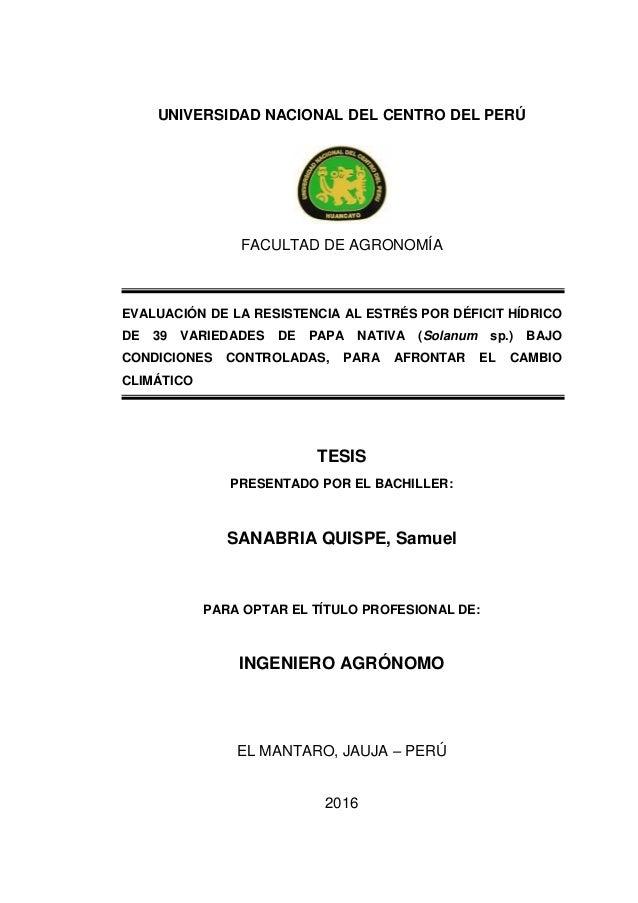UNIVERSIDAD NACIONAL DEL CENTRO DEL PERÚ FACULTAD DE AGRONOMÍA EVALUACIÓN DE LA RESISTENCIA AL ESTRÉS POR DÉFICIT HÍDRICO ...