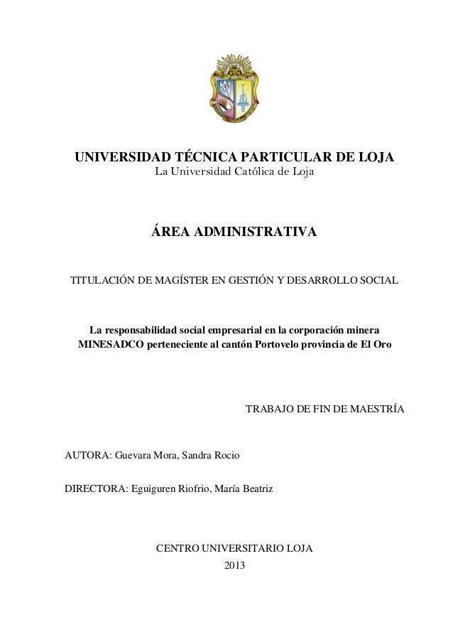 UNIVERSIDAD TÉCNICA PARTICULAR DE LOJA La Universidad Católica de Loja ÁREA ADMINISTRATIVA TITULACIÓN DE MAGÍSTER EN GESTI...