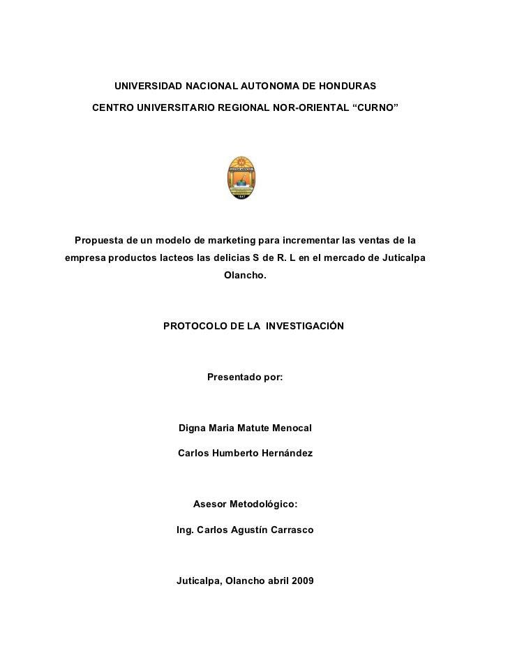 """UNIVERSIDAD NACIONAL AUTONOMA DE HONDURAS     CENTRO UNIVERSITARIO REGIONAL NOR-ORIENTAL """"CURNO""""  Propuesta de un modelo d..."""