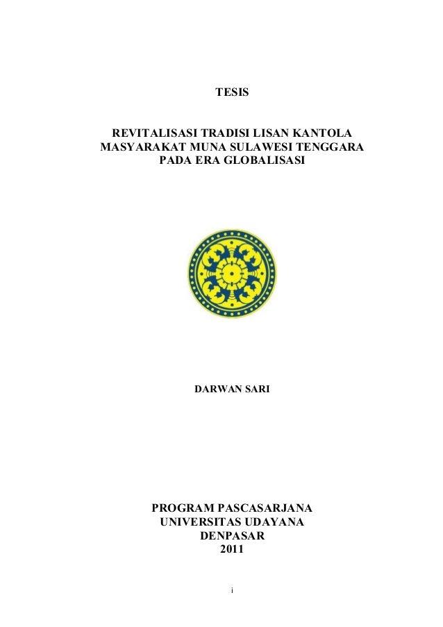 TESIS REVITALISASI TRADISI LISAN KANTOLA MASYARAKAT MUNA SULAWESI TENGGARA PADA ERA GLOBALISASI  DARWAN SARI  PROGRAM PASC...
