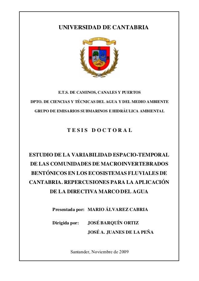 UNIVERSIDAD DE CANTABRIA           E.T.S. DE CAMINOS, CANALES Y PUERTOSDPTO. DE CIENCIAS Y TÉCNICAS DEL AGUA Y DEL MEDIO A...