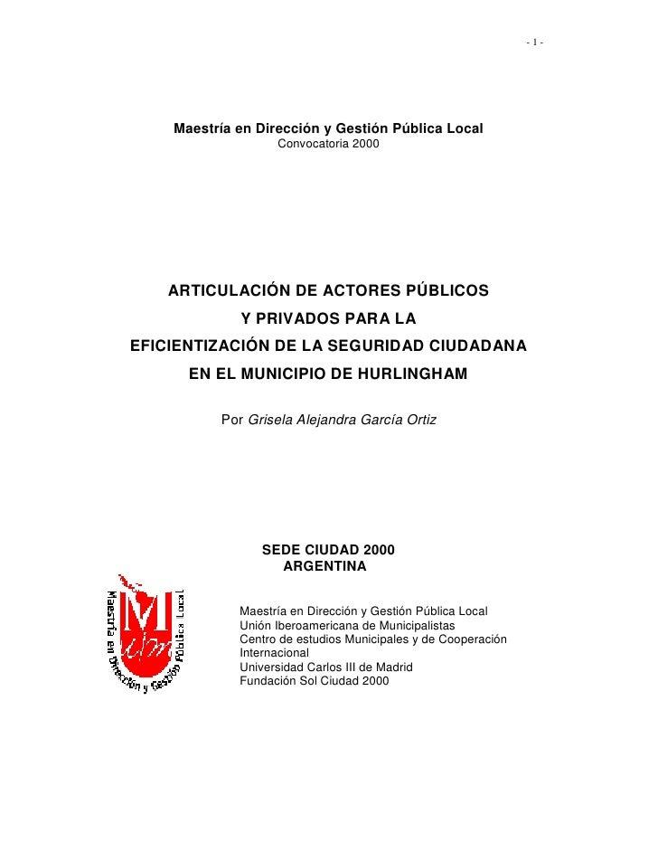 -1-    Maestría en Dirección y Gestión Pública Local                   Convocatoria 2000   ARTICULACIÓN DE ACTORES PÚBLICO...