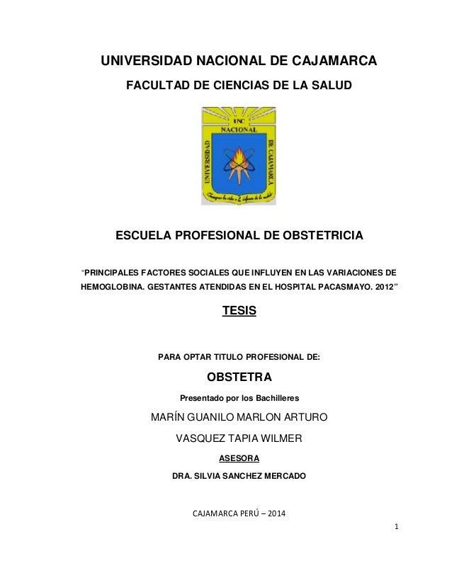"""1 UNIVERSIDAD NACIONAL DE CAJAMARCA FACULTAD DE CIENCIAS DE LA SALUD ESCUELA PROFESIONAL DE OBSTETRICIA """"PRINCIPALES FACTO..."""