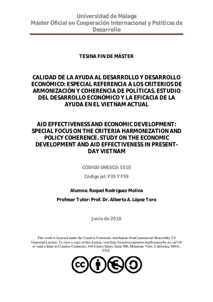 Universidad de MálagaMáster Oficial en Cooperación Internacional y Políticas de                       Desarrollo          ...