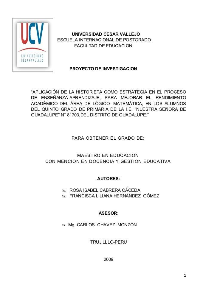 UNIVERSIDAD CESAR VALLEJO         ESCUELA INTERNACIONAL DE POSTGRADO               FACULTAD DE EDUCACION              PROY...