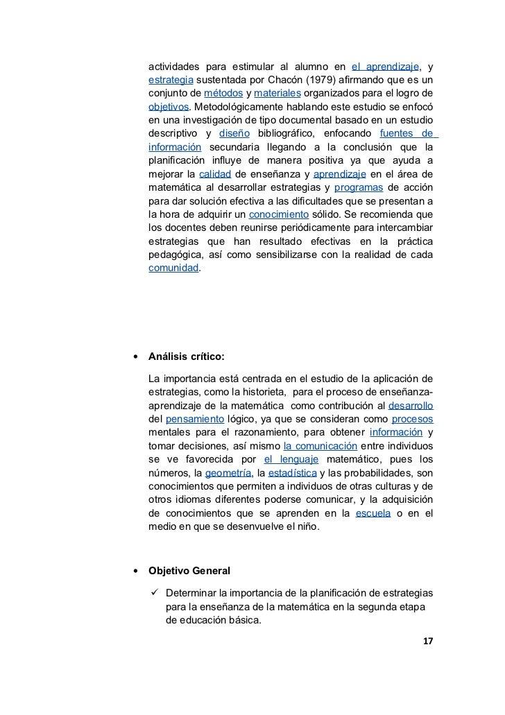 actividades para estimular al alumno en el aprendizaje, y    estrategia sustentada por Chacón (1979) afirmando que es un  ...
