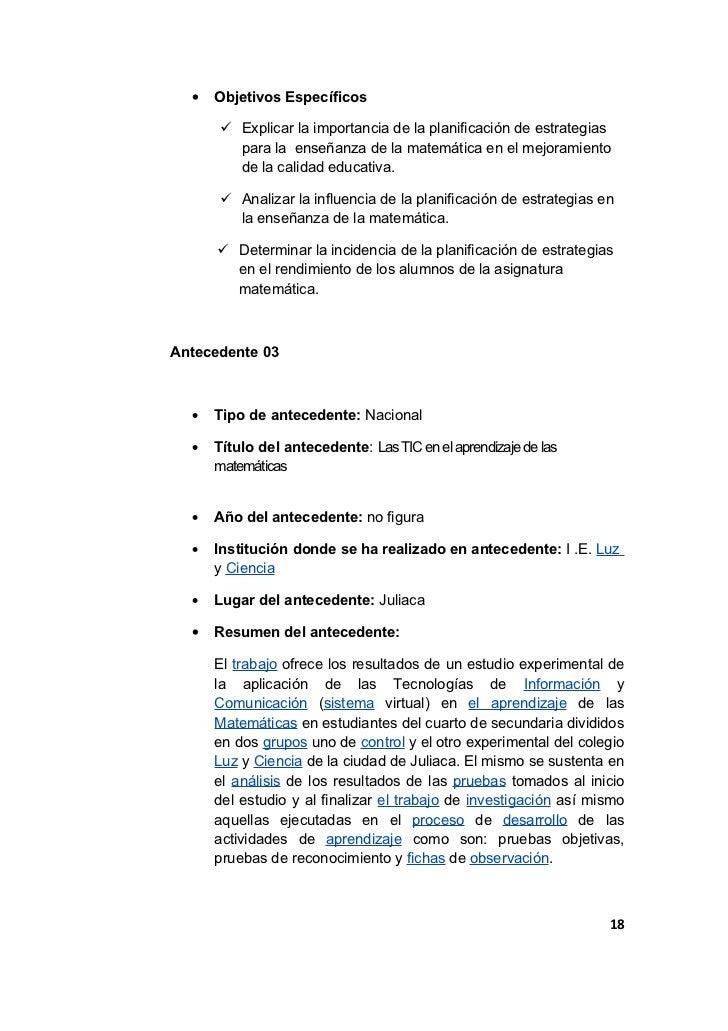 •   Objetivos Específicos       Explicar la importancia de la planificación de estrategias        para la enseñanza de la...