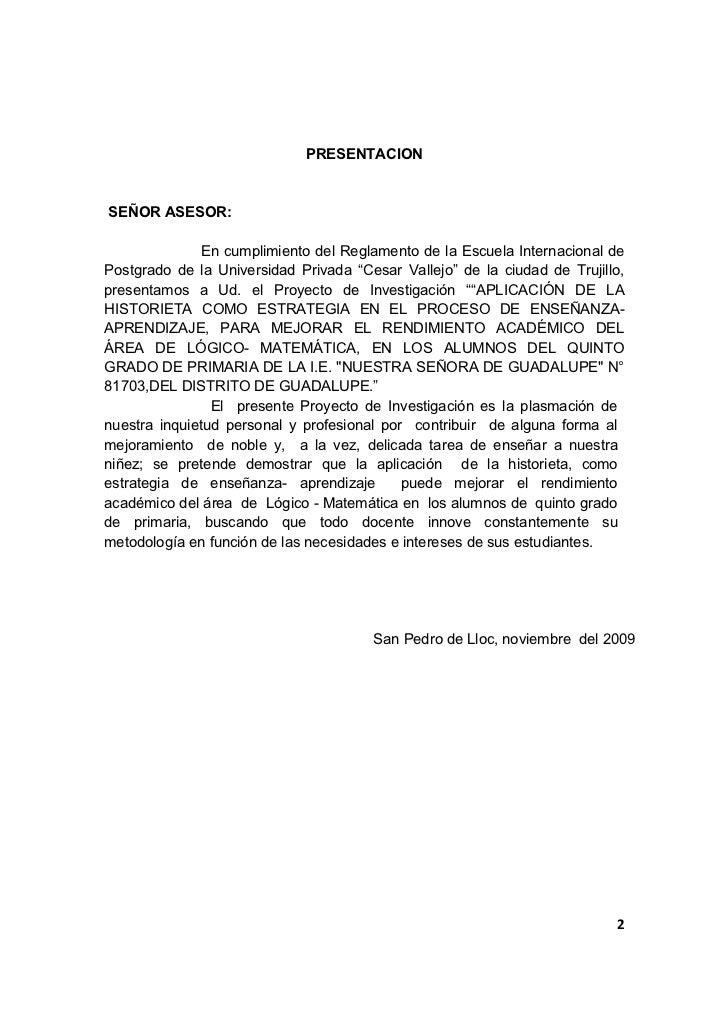 PRESENTACIONSEÑOR ASESOR:              En cumplimiento del Reglamento de la Escuela Internacional dePostgrado de la Univer...