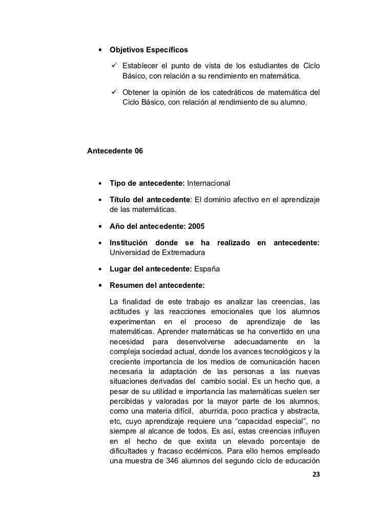 •   Objetivos Específicos       Establecer el punto de vista de los estudiantes de Ciclo        Básico, con relación a su...