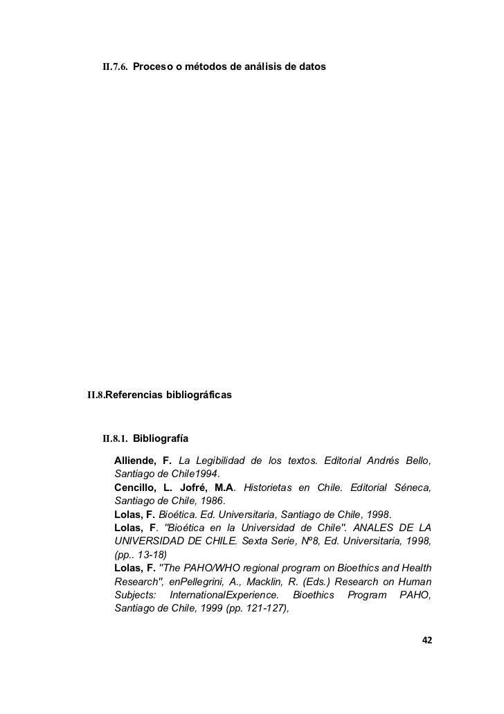 II.7.6. Proceso o métodos de análisis de datosII.8.Referencias bibliográficas   II.8.1. Bibliografía     Alliende, F. La L...
