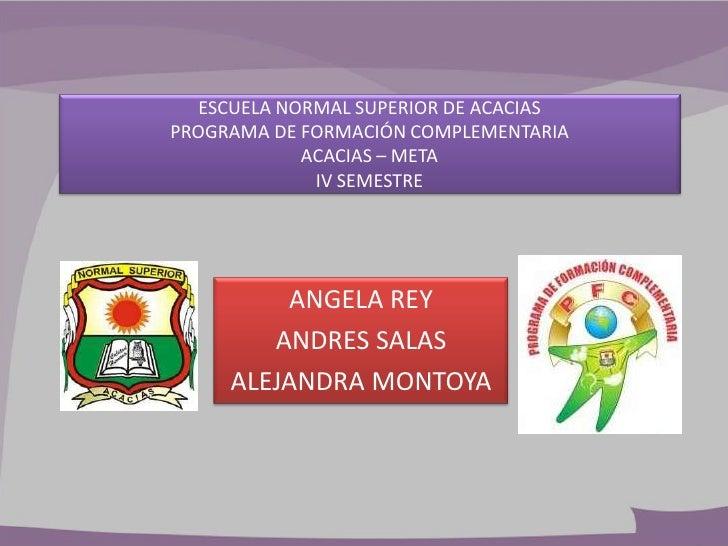 ESCUELA NORMAL SUPERIOR DE ACACIASPROGRAMA DE FORMACIÓN COMPLEMENTARIA            ACACIAS – META             IV SEMESTRE  ...