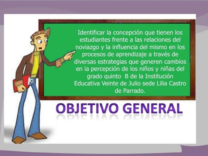 Identificar la concepción que tienen los   estudiantes frente a las relaciones delnoviazgo y la influencia del mismo en lo...