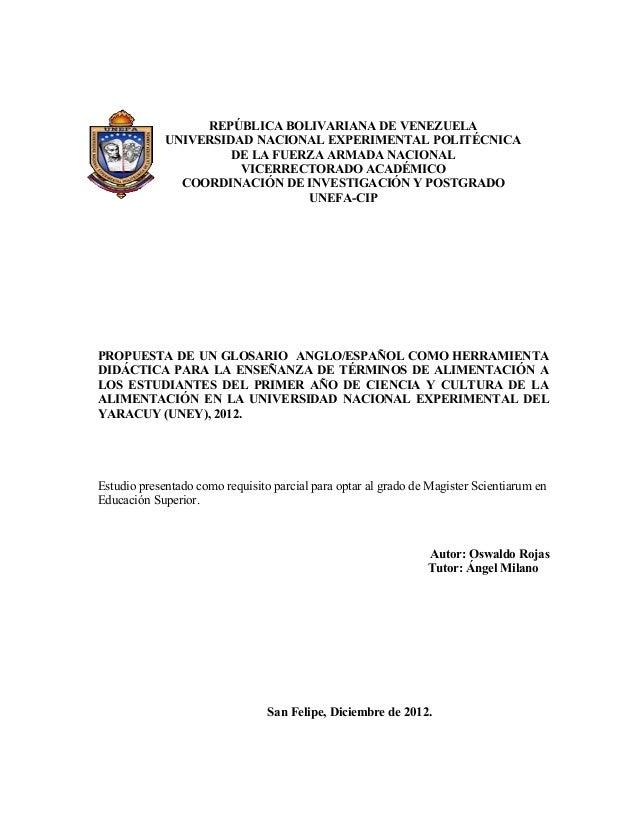 REPÚBLICA BOLIVARIANA DE VENEZUELA UNIVERSIDAD NACIONAL EXPERIMENTAL POLITÉCNICA DE LA FUERZA ARMADA NACIONAL VICERRECTORA...