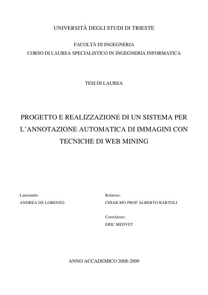 UNIVERSITÀ DEGLI STUDI DI TRIESTE                       FACOLTÀ DI INGEGNERIA    CORSO DI LAUREA SPECIALISTICO IN INGEGNER...