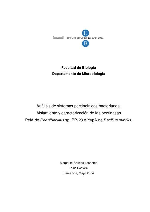 )DFXOWDG GH %LRORJtD 'HSDUWDPHQWR GH 0LFURELRORJtD Análisis de sistemas pectinolíticos bacterianos. Aislamiento y caracter...