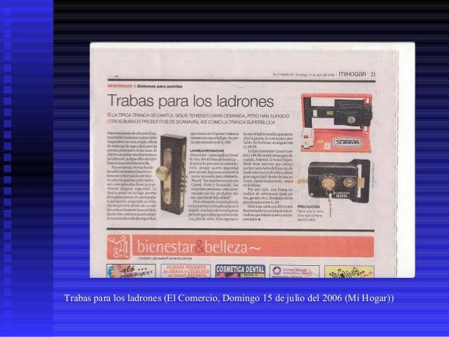 Trabas para los ladrones (El Comercio, Domingo 15 de julio del 2006 (Mi Hogar))