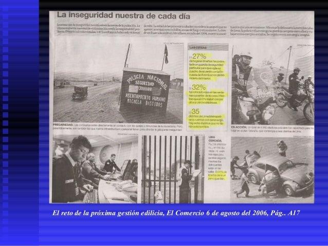 El reto de la próxima gestión edilicia, El Comercio 6 de agosto del 2006, Pág.. A17