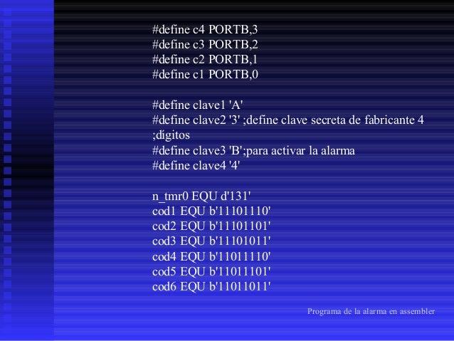 cod7 EQU b'10111110' cod8 EQU b'10111101' cod9 EQU b'10111011' cod0 EQU b'01111101' cod# EQU b'01110111' codA EQU b'111001...