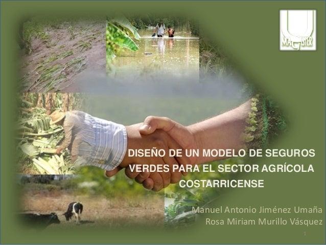 DISEÑO DE UN MODELO DE SEGUROS VERDES PARA EL SECTOR AGRÍCOLA COSTARRICENSE Manuel Antonio Jiménez Umaña Rosa Miriam Muril...