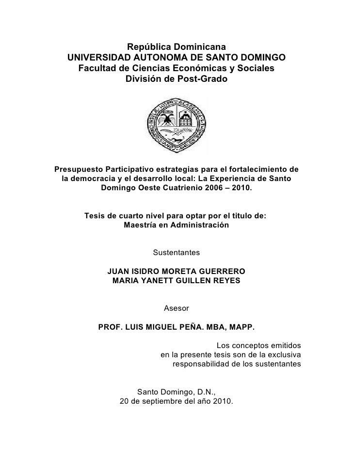 República Dominicana   UNIVERSIDAD AUTONOMA DE SANTO DOMINGO     Facultad de Ciencias Económicas y Sociales               ...