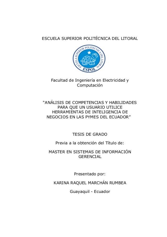 """ESCUELA SUPERIOR POLITÉCNICA DEL LITORAL Facultad de Ingeniería en Electricidad y Computación """"ANÁLISIS DE COMPETENCIAS Y ..."""