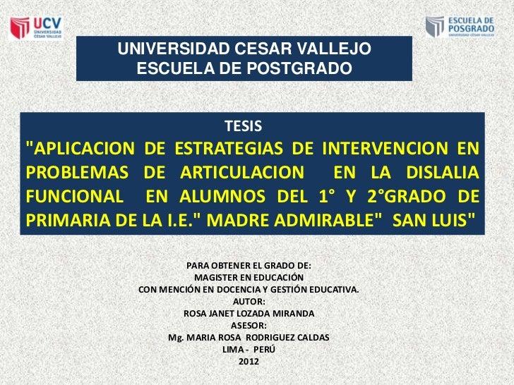 """UNIVERSIDAD CESAR VALLEJO           ESCUELA DE POSTGRADO                            TESIS""""APLICACION DE ESTRATEGIAS DE INT..."""