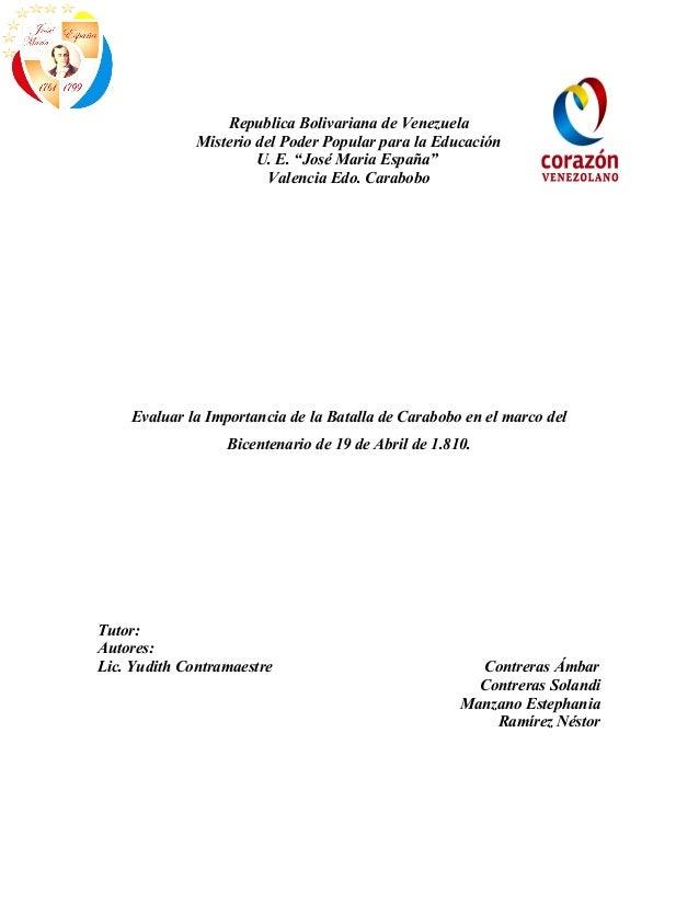 """Republica Bolivariana de Venezuela              Misterio del Poder Popular para la Educación                       U. E. """"..."""