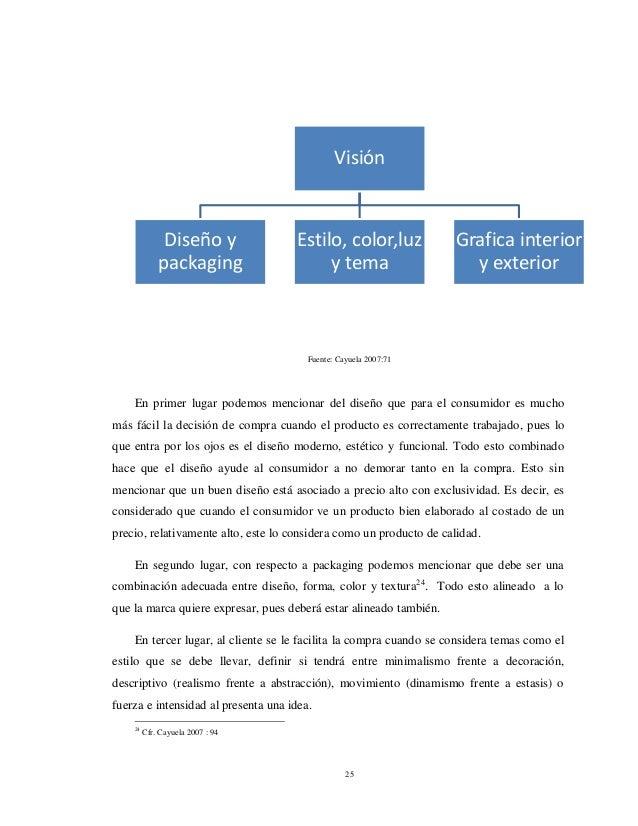 25 Fuente: Cayuela 2007:71 En primer lugar podemos mencionar del diseño que para el consumidor es mucho más fácil la decis...