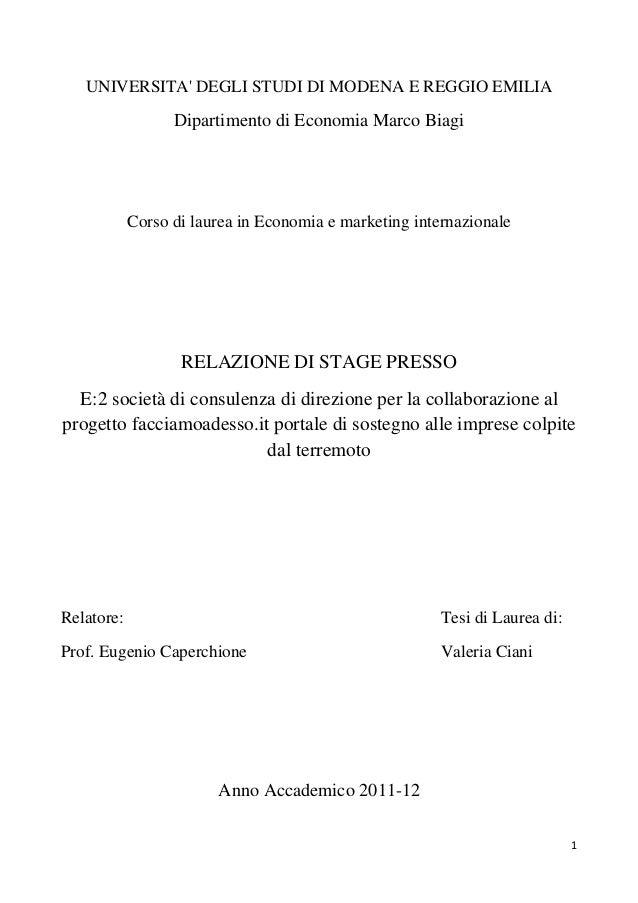 UNIVERSITA DEGLI STUDI DI MODENA E REGGIO EMILIA                  Dipartimento di Economia Marco Biagi            Corso di...