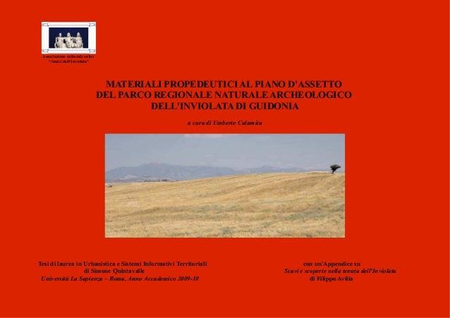 """Associazione culturale onlus    """"Amici dellInviolata""""                                 MATERIALI PROPEDEUTICI AL PIANO DASS..."""