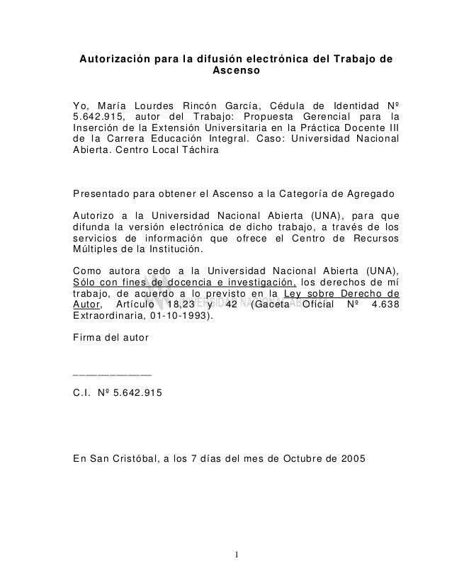 1 Autorización para la difusión electrónica del Trabajo de Ascenso Yo, María Lourdes Rincón García, Cédula de Identidad Nº...