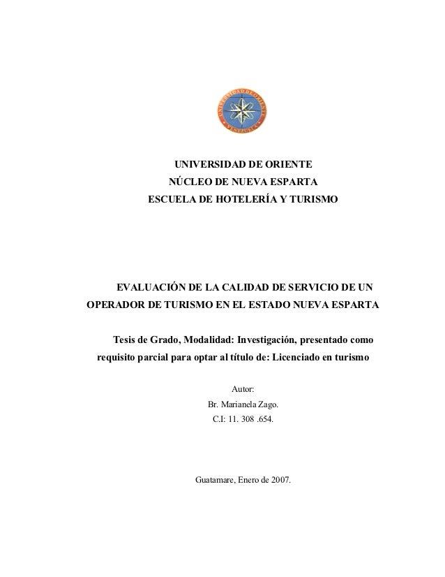 UNIVERSIDAD DE ORIENTE                 NÚCLEO DE NUEVA ESPARTA             ESCUELA DE HOTELERÍA Y TURISMO     EVALUACIÓN D...