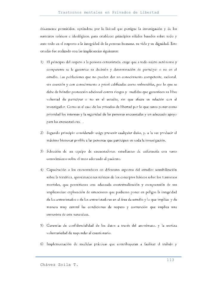 Trastornos mentales en Privados de Libertad                                                     113Chávez Zoila T.