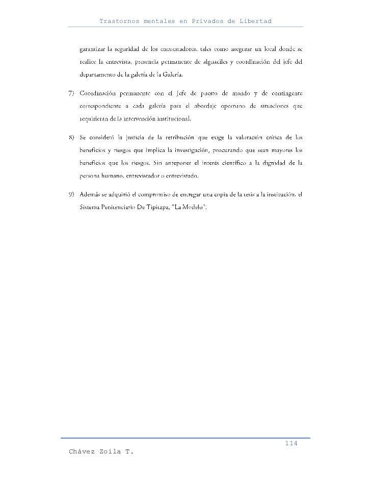 Trastornos mentales en Privados de Libertad                                                     114Chávez Zoila T.