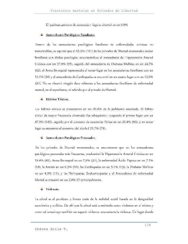 Trastornos mentales en Privados de Libertad                                                     118Chávez Zoila T.