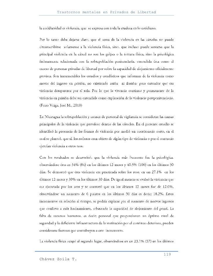 Trastornos mentales en Privados de Libertad                                                     119Chávez Zoila T.