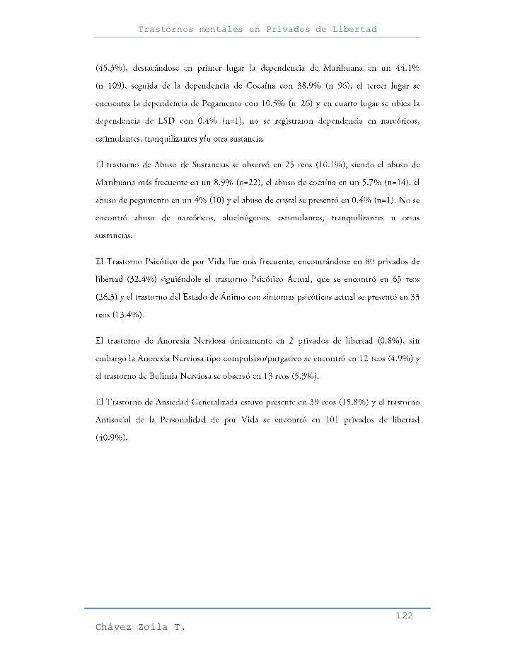 Trastornos mentales en Privados de Libertad                                                     122Chávez Zoila T.