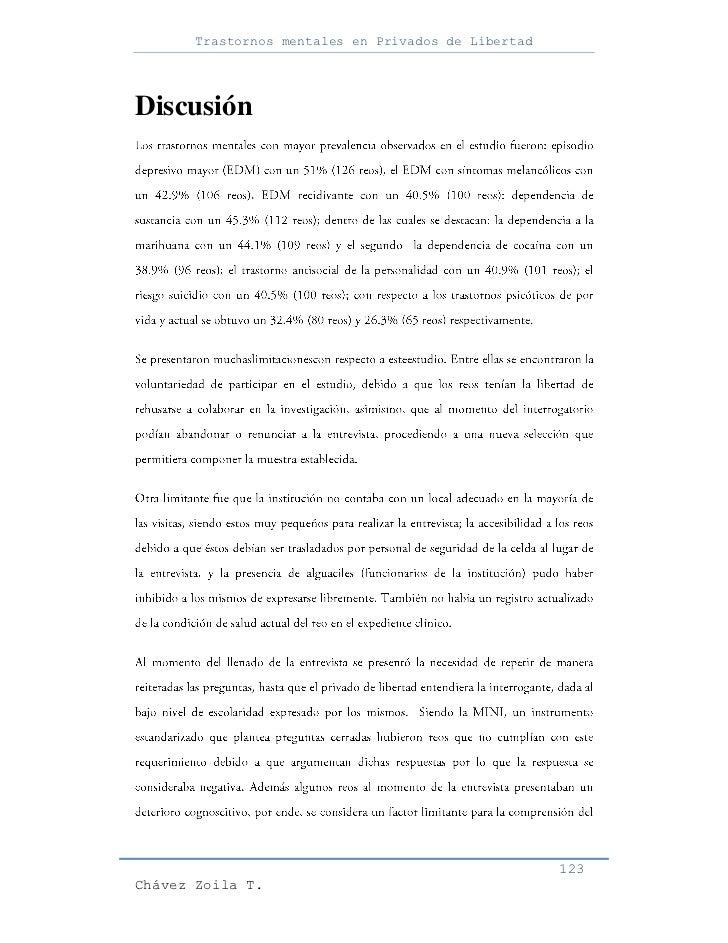 Trastornos mentales en Privados de LibertadDiscusión                                                     123Chávez Zoila T.