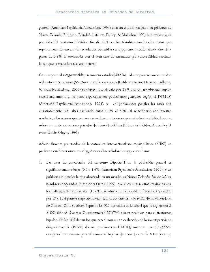 Trastornos mentales en Privados de Libertad                                                     125Chávez Zoila T.