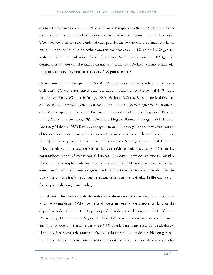 Trastornos mentales en Privados de Libertad                                                     127Chávez Zoila T.