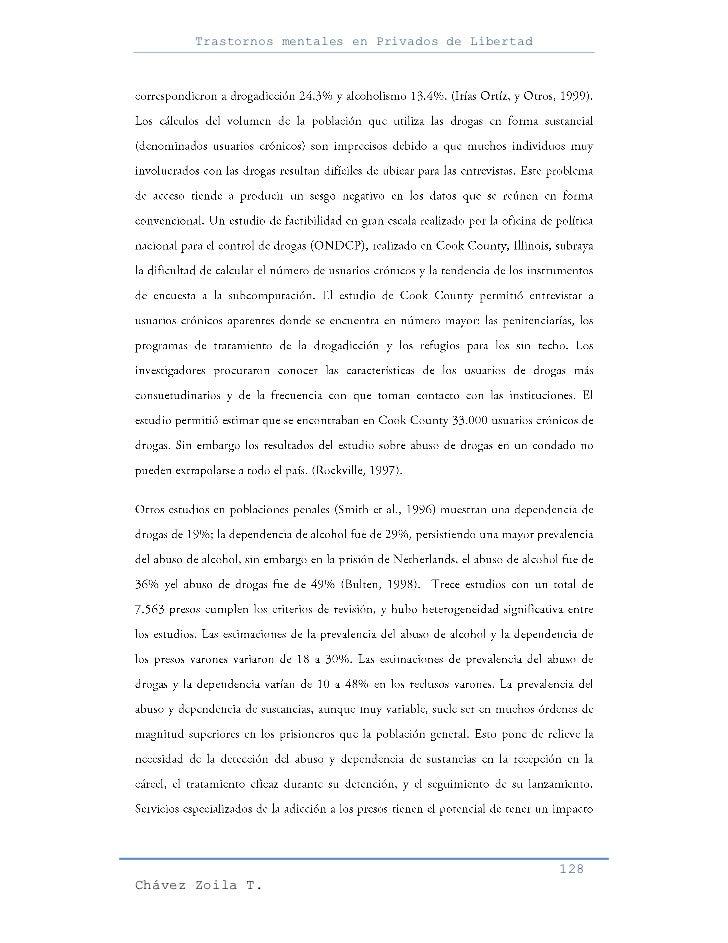 Trastornos mentales en Privados de Libertad                                                     128Chávez Zoila T.