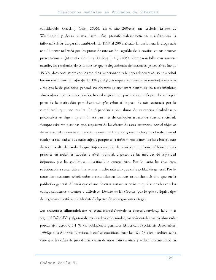 Trastornos mentales en Privados de Libertad                                                     129Chávez Zoila T.
