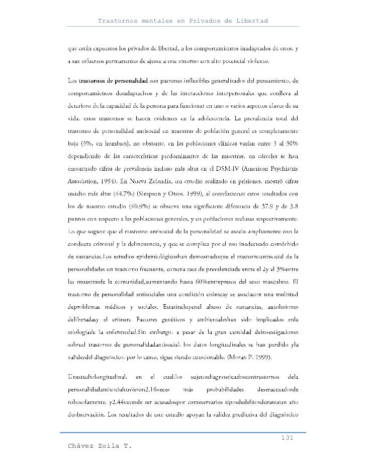 Trastornos mentales en Privados de Libertad                                                     131Chávez Zoila T.