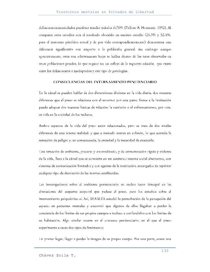 Trastornos mentales en Privados de Libertad                                                     133Chávez Zoila T.