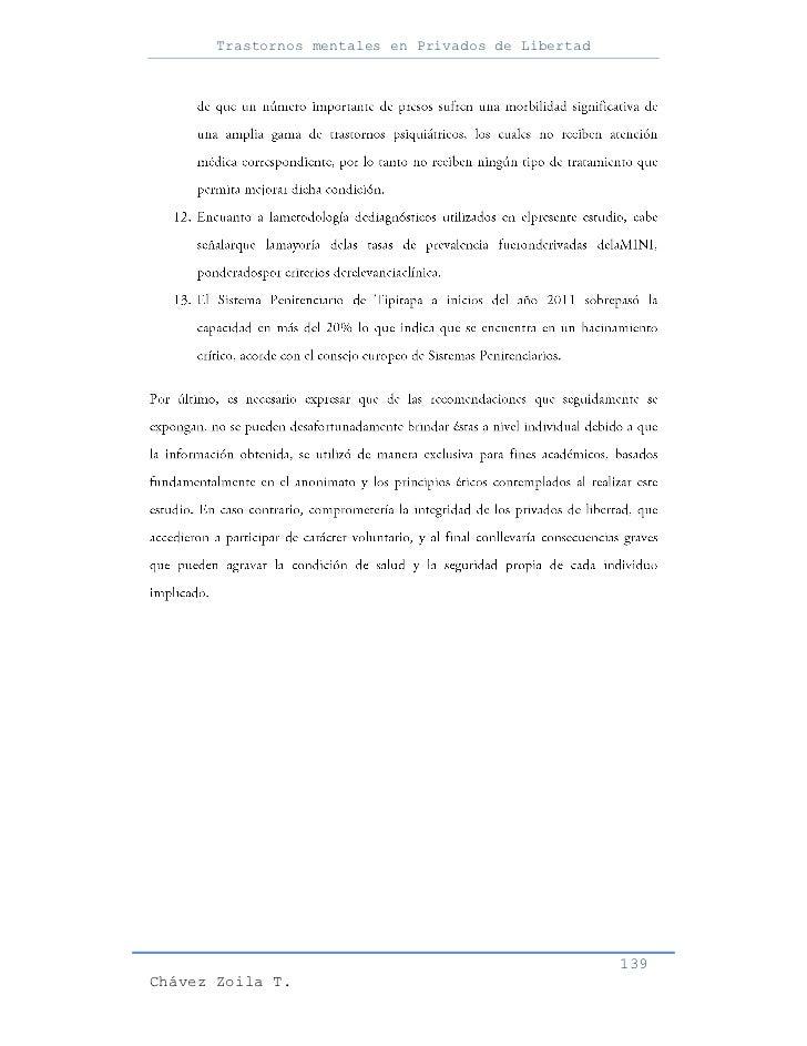 Trastornos mentales en Privados de Libertad                                                     139Chávez Zoila T.