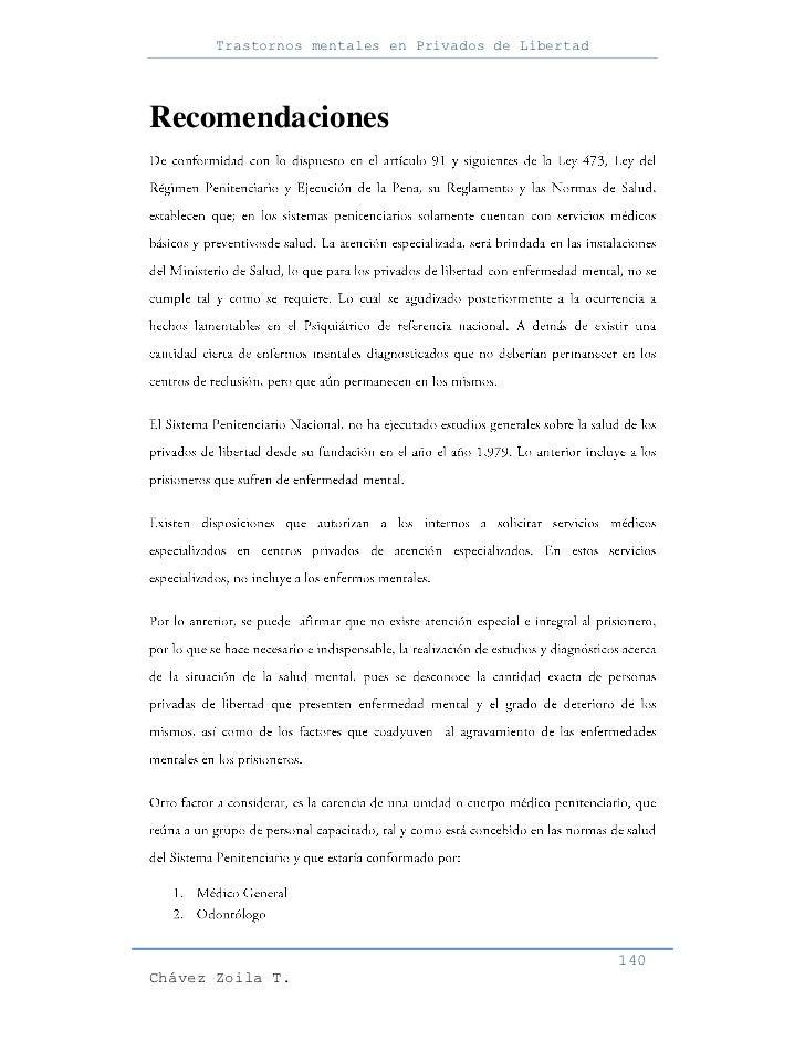 Trastornos mentales en Privados de LibertadRecomendaciones                                                     140Chávez Z...