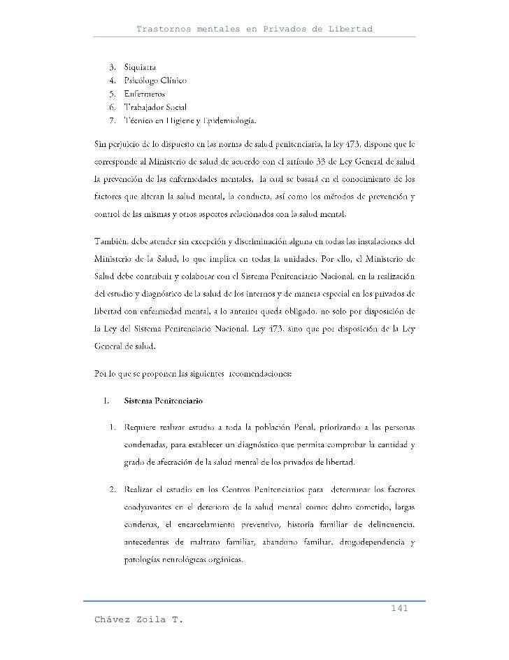 Trastornos mentales en Privados de Libertad                                                     141Chávez Zoila T.