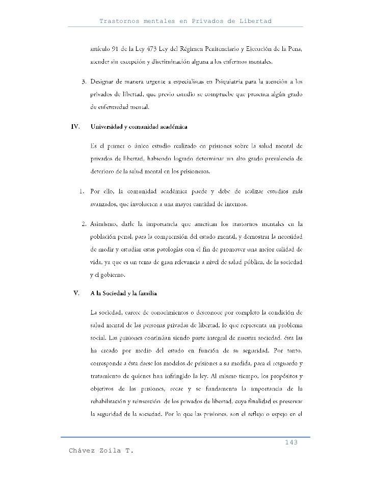 Trastornos mentales en Privados de Libertad                                                     143Chávez Zoila T.