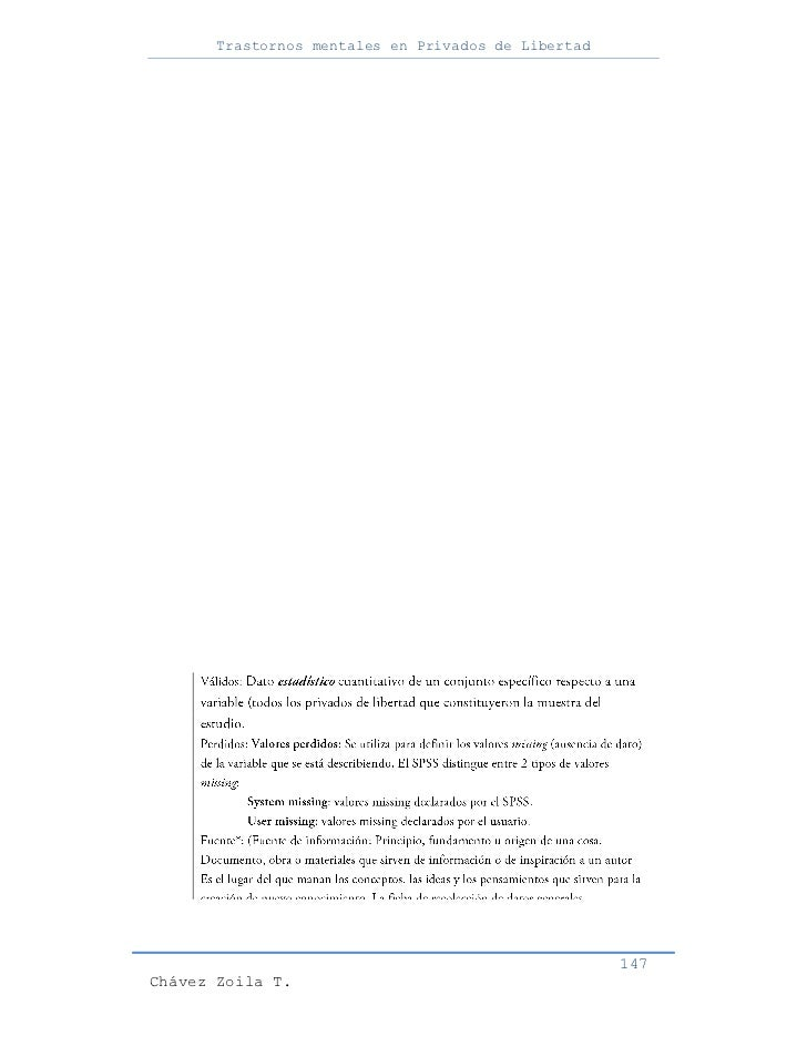 Trastornos mentales en Privados de Libertad                                                     147Chávez Zoila T.